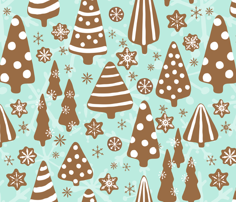 Gingerbread Forest fabric by fernlesliestudio on Spoonflower - custom fabric