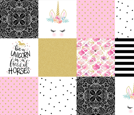 Be a Unicorn - Wholecloth Cheater Quilt fabric by longdogcustomdesigns on Spoonflower - custom fabric