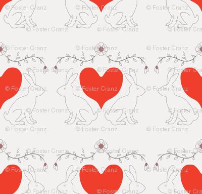 Gray Bunny Heart Print