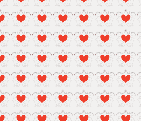 Gray Bunny Heart Print fabric by fossyboots on Spoonflower - custom fabric