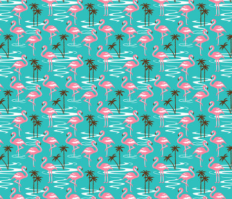 Florida flamingo fabric by 50s_vintage_dame on Spoonflower - custom fabric