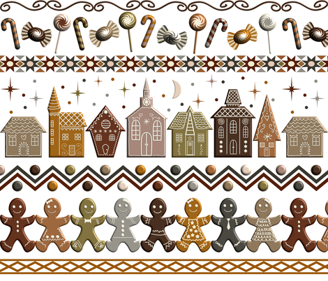 Gingerbread Row Dance fabric by violethouse on Spoonflower - custom fabric