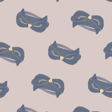 Owl Sleep Mask / Beige fabric by appaloosa_designs on Spoonflower - custom fabric