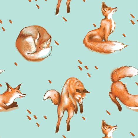 Happy Fox / Blue fabric by appaloosa_designs on Spoonflower - custom fabric