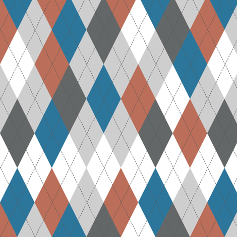 Argyle - Blue Rust fabric by diane555 on Spoonflower - custom fabric