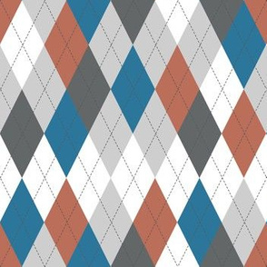 Argyle - Blue Rust