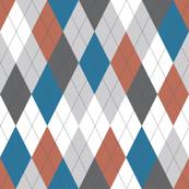 Argyle - Blue Rust