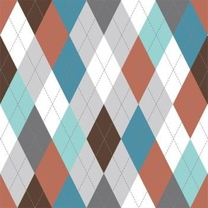 Argyle - Teal Grey