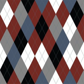 Argyle - Black Burgundy