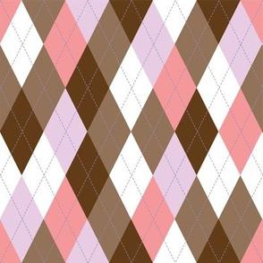 Argyle -  Pink Brown