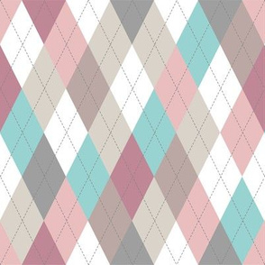 Argyle - Pastel Pink Brown
