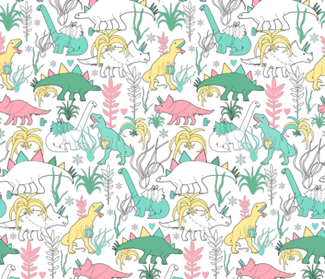 Dinos and cacti. Christmas design with dinosaurs and succulents. fabric by kostolom3000 on Spoonflower - custom fabric