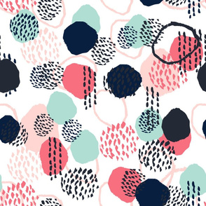 abstract expression dots (larger scale) blush coral mint navy painted painterly kids