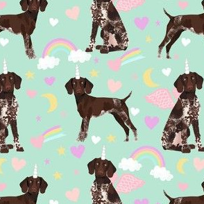 German Shorthair Pointer dod breed fabric rainbow unicorn pastel mint