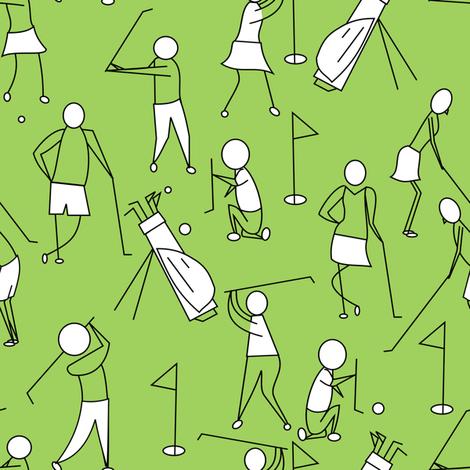 stick figure golf green fabric by pamelachi on Spoonflower - custom fabric