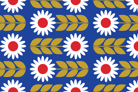 Fika Flower Blue fabric by bashfulbirdie on Spoonflower - custom fabric