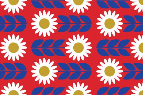 Fika Flower Red fabric by bashfulbirdie on Spoonflower - custom fabric