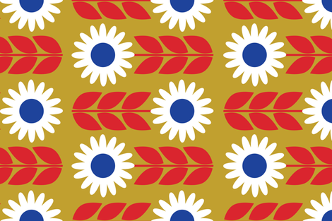 Fika Flower Yellow fabric by bashfulbirdie on Spoonflower - custom fabric