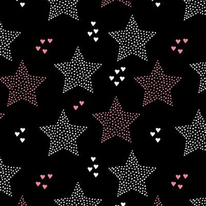 Twinkle twinkle little star cute baby nursery or christmas theme print in black white and pink night