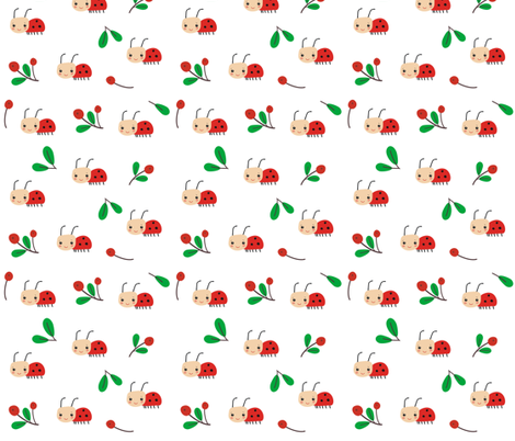 Ladybird on a white background fabric by toy_joy on Spoonflower - custom fabric
