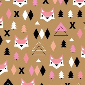 Geometric fox and pine tree illustration pattern ochre pink girls