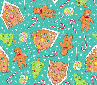 Christmas Gingerbread and Candy on teal