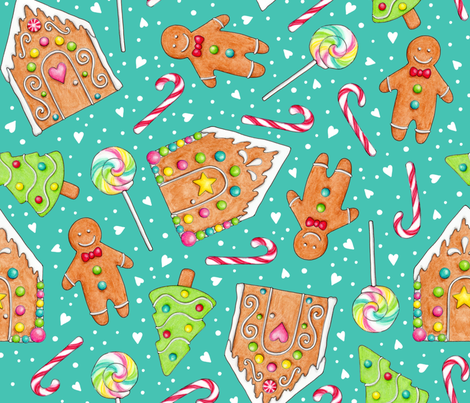 Christmas Gingerbread and Candy on teal fabric by hazelfishercreations on Spoonflower - custom fabric