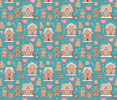 Gingerbread fairy tale fabric by olgart on Spoonflower - custom fabric