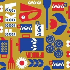 Fika Pattern Tea Towel