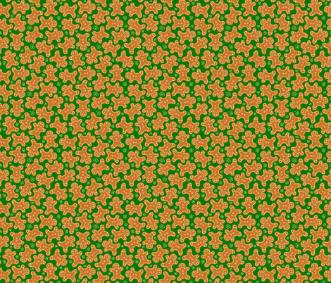Gingerbread Men on Festive Green fabric by thewellingtonboot on Spoonflower - custom fabric