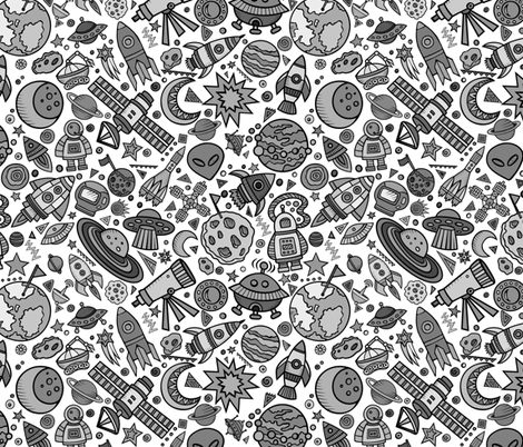 Busy space objects black and white 12 fabric for Space mountain fabric
