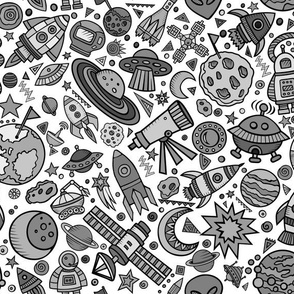 """Busy Space Objects Black and White 12"""""""