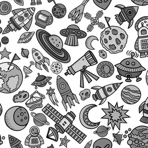 """Simple Space Objects Black and White 12"""""""