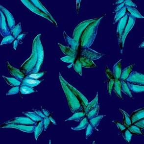 Blue Leaves on a blue background