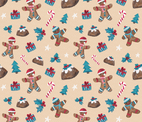 Gingerbread Christmas fabric by fromtheartstudio on Spoonflower - custom fabric
