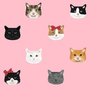 cat breed faces with bows cute pet fabric for cat lovers pink