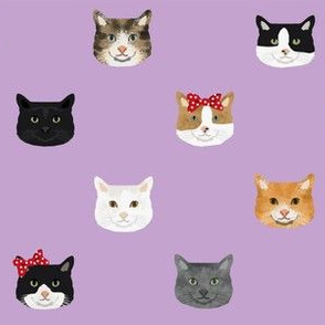 cat breed faces with bows cute pet fabric for cat lovers purple