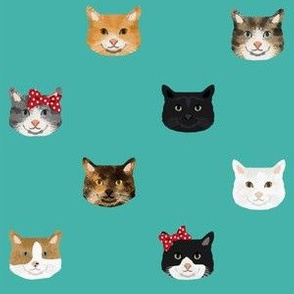 cat breed faces with bows cute pet fabric for cat lovers teal