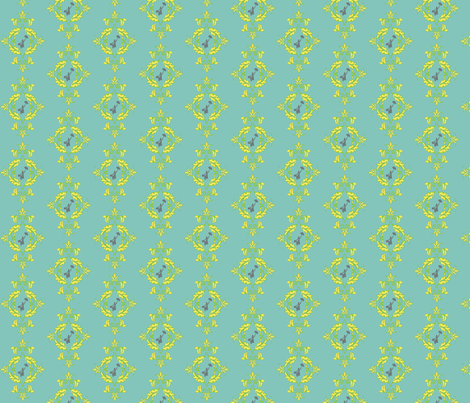 Poppins Damask_teal-01 fabric by kfrogb on Spoonflower - custom fabric