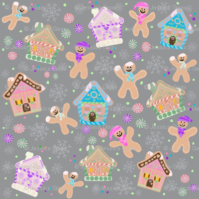 Gingerbread houses and man