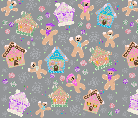 Gingerbread houses and man fabric by jjdesignwithlove on Spoonflower - custom fabric