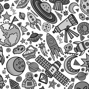 Busy Space Objects Black and White 24""