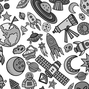 """Simple Space Objects Black and White 24"""""""