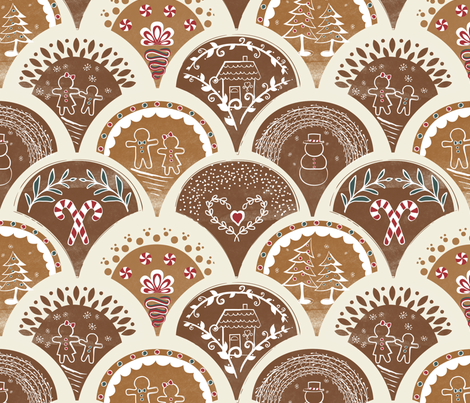 Gingerbread Tiles fabric by jennifer_todd on Spoonflower - custom fabric