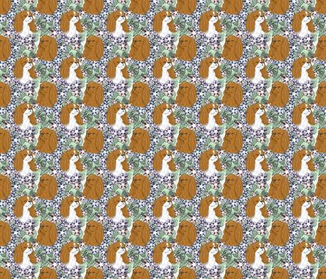 Floral English Toy Spaniel portraits - small fabric by rusticcorgi on Spoonflower - custom fabric