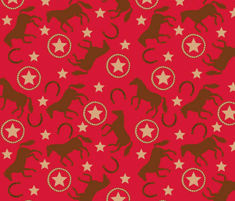 Horse Western Red Large fabric by phyllisdobbs on Spoonflower - custom fabric
