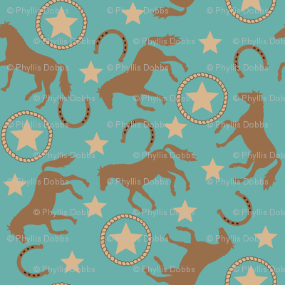 Horse Western Teal large