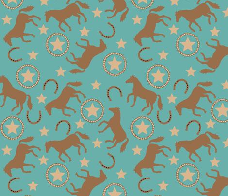 Horse Western Teal large fabric by phyllisdobbs on Spoonflower - custom fabric