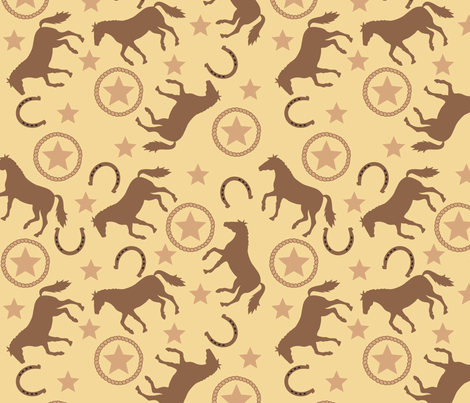Horse Western Yellow Large fabric by phyllisdobbs on Spoonflower - custom fabric