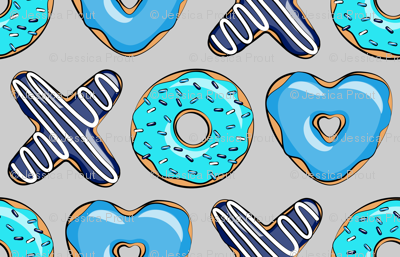 blue X O  heart shaped donuts - xo heart donuts on grey